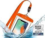 BLACKROX wasserdichte Handyhülle - Handyschutz Wasserfeste Handytasche Cover Beutel Beachbag Tasche Handy Hülle Waterproof Hülle iPhone X/XS 8 7 6s Samsung S10 S9 S8 S7 (Orange)