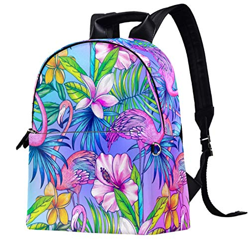Travel,Hiking Backpack Laptop Backpack, Exotic Botanical Design Flamingo Pattern Flamingos Print Casual Large Capacity School Bag for Men Women for Work Office College Business Travel