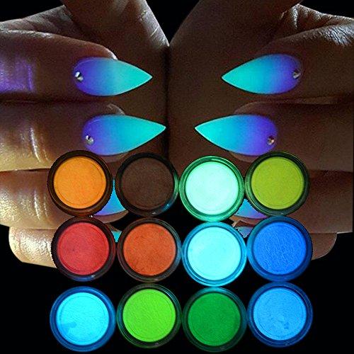 VANMO Nail Art Phosphor Nagellack, 12 x 2g Nagel Pulver Sand fluoreszierende leuchtende Neon Pigment Im Dunkeln Leuchten Bodypainting Schminke Schwarzlicht-Körperfarbe