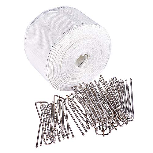 INCREWAY Curtain Accessory, 10 Meters/10.9 Yards White Curtain Heading Deep Pinch Tape Pull Pleat Tape with 20 Pcs Stainless Steel 4 Prong Curtain Pleat Hook Clip