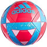 adidas Performance Starlancer V Soccer Ball, Solar Blue/Black/Metallic Silver, Size 3