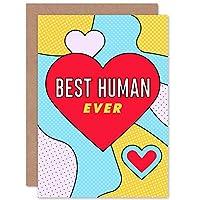 Pop Art Love Best Human Ever Heart Sealed Greeting Card Plus Envelope Blank inside 愛 ハート