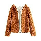 ZAFUL Womens Open Front Hooded Lamb Wool Coat Double Side Cardigan Jacket (XL, Tiger Orange &...