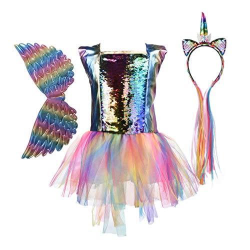 FENICAL Traje de Unicornio tutú Falda Lentejuelas Princesa Vestido de Fiesta con Diadema de Unicornio y ala para bebé niños niñas
