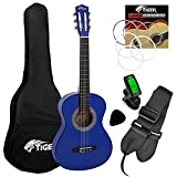 """Tiger Childrens Classical Guitar – Blue 3/4 Size Spanish Guitar Pack With Tuner, Gig Bag, Picks, and Spare Strings, 36"""" Beginners School Guitar Pack - Now with 6 Months Free Lessons Included"""