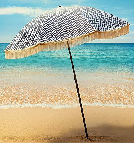 Beach Umbrella for Sand – Best Beach Umbrella Windproof with Sand Anchor Portable Sport Umbrella, Fringe, Denim Beach Umbrella Bag, Features Pointed Bottom & 100% UV Sun Protection – Bahama(Regatta)