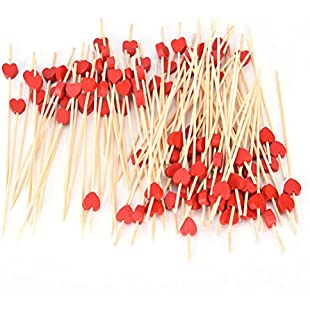 Disposable Wooden Heart Cocktail Sticks Party Frilled Toothpicks Fruit Forks, Sandwich, Appetizer, Cocktail Picks Party Supplies, Pack of 100 Pieces,Red Heart