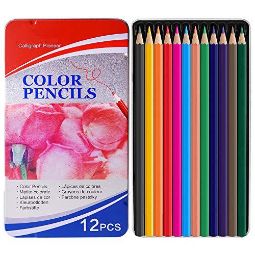 sunvito Set 12 Matite Colorate, Color Pencils con Soft Core per Libri da colorare per Adulti Artista Drawing Sketching Crafting Shading, 12 Colori Vivaci con Scatola di Metallo