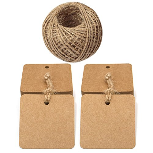 5.5 CM Square Gift Tags, 100 PCS Kraft Paper Tags Labels with Jute Twine 30 Meters Long for Hang Tags, Luggage Tag, Price Tags, DIY tags (Brown)