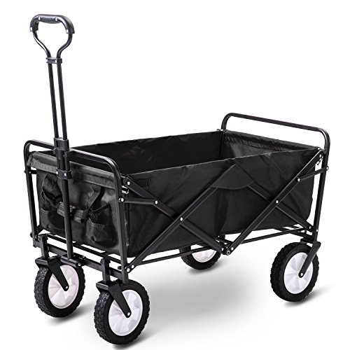 LIFE CARVER Folding Camping Cart Garden Wagon 4 Wheeled Collapsible Festival Trolley, Portable Garden Cart & DIY Waste Wagon - 150KG Capacity