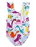 RAISEVERN Baby Girls Swimsuit Ruffles Dinosaur Bathing Suits Cute Cartoon Colorful Flowers Print Beach Sport White Summer One Piece Swimwear Backless Quick-Dry Swimming Bodysuit for 2t 3t Little Girl