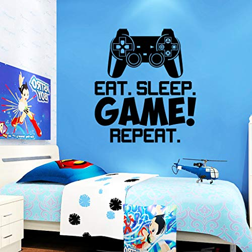 Gamer Wall Sticker Eat Sleep Game Wall Stickers for Boys Bedroom, Letter DIY Game Wall Decals for Kids Rooms Decoration Art Home Decor (16.5' x18.5')