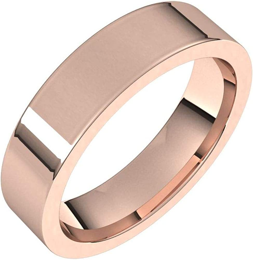Solid 18k Rose Gold 5mm Flat Comfort Fit Wedding Band Ring Classic Plain Traditional - Size 6
