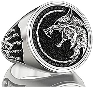 EZUY GNAY Mens Wolf Ring Jewelry Stainless Steel Ring Viking Ring Wizard Warrior Hunter Wolf Head Rings Gift for Men