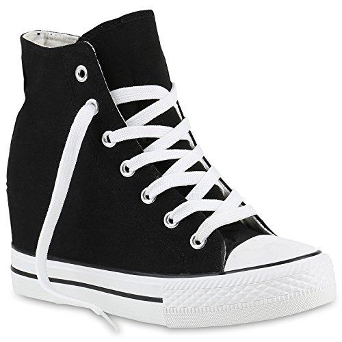stiefelparadies Damen Sneakers Keilabsatz Sneaker-Wedges Stoffschuhe Schnürer 139809 Schwarz Black 37 Flandell
