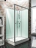 Cabine de douche complète Corsica 120 x 90 cm, cabine de douche intégrale avec porte coulissante, parois fixes, receveur,...