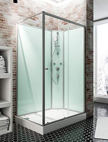 Cabine de douche complète Corsica 120 x 80 cm, cabine de douche intégrale avec porte coulissante, parois fixes, receveur, panneaux muraux et robinetterie, ouverture vers la droite