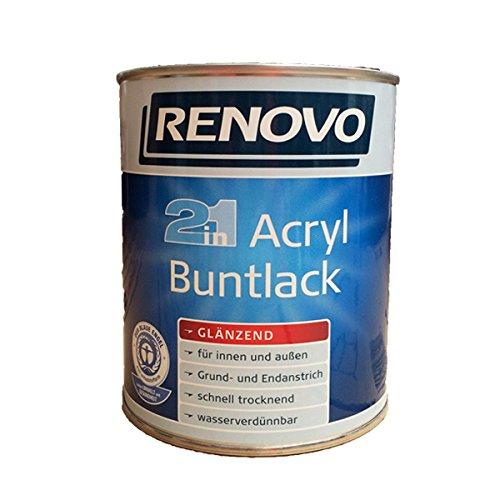Renovo glänzender Acryl Bunt-Lack in altweiß 2 in 1 Glanzlack 750 ml für innen und außen