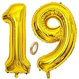 Jxuzh Globo de 19 cumpleaños dorado con número 19, globo gigante dorado, globos de helio con números grandes 19 años y XXL Happy Birthday de 32 pulgadas, para niñas y niños