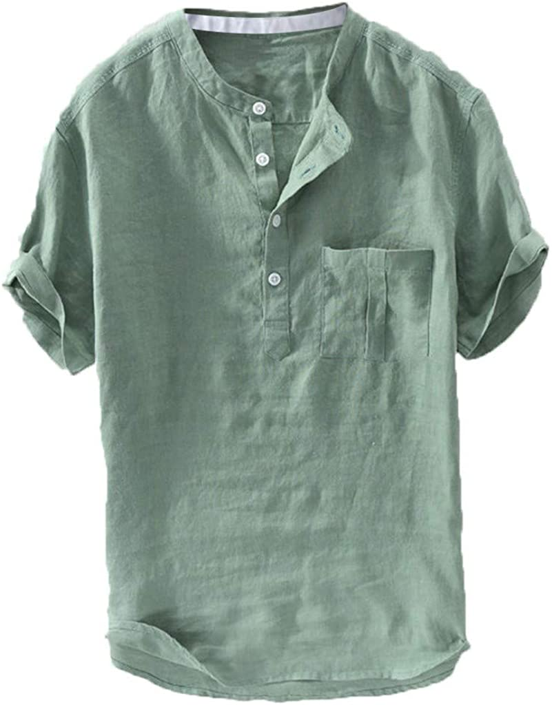 Shirt for Men, F_Gotal Men's T-Shirts Summer Casual Linen Cotton Short Sleeve V-Neck Fit Casual Sport Tees Blouse Tops