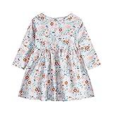 Baby Mädchen Kleider – Baby Kleidung Mädchen Kleinkind Baby Mädchen Langarm Kleid Einteiler Floral Printed Prinzessin Kleid Herbst Kinder Rock (6 Monate bis 3 Jahre), grau, 74