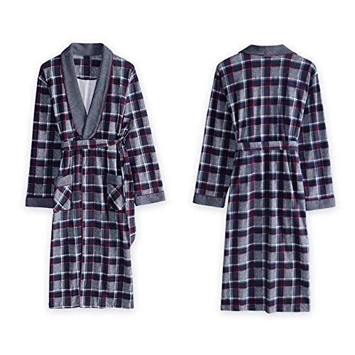 DSHUJC Camisón de Invierno para Hombre, de algodón de Manga Larga, Vestido de mañana de Gran tamaño, Yukata, Albornoz Largo de algodón, Pijama, Ropa de hogar súper SUA