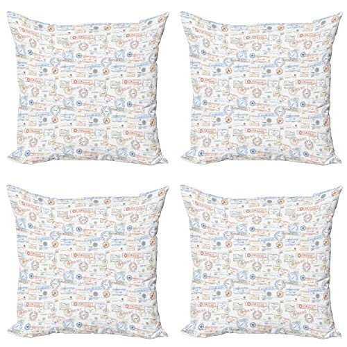 ABAKUHAUS Travel Throw Pillow Cushion Case Pack of 4, Vintage Rubber Stamps, Modern Accent Double-sided Digital Printing, 45 cm x 45 cm, Multicolor