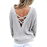 V Neck Backless Long Sleeve Women Sweaters and Pullovers Knitted Christmas Sweater Pullover Fall Fashion Gris L