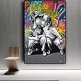 Leinwand Kunstwerk 60x80cm ohne Rahmen Kinder küssen Wand