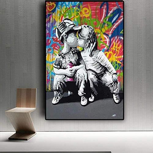 Wandkunst 70x90cm ohne Rahmen Kinder küssen Wand Graffiti Street Pop Art Leinwand Malerei Poster und Drucke lieben das Leben Wand Leinwand Bilder