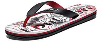 2018 Sandals Men's Flip Flops Casual with Non-Slip Soft Bottom Stylish Printed Beach Sandals (Color : Red, Size : 43 EU)