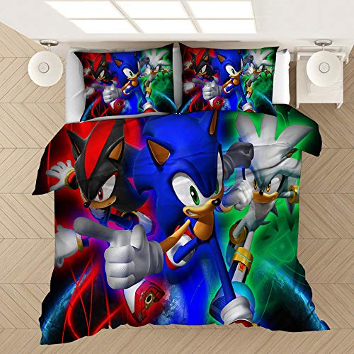 SixyeLiuzhi Anime 3D digital gedruckt Home Textile 2/3-stück Set von Sonic elektrische Kid animierte bettwäsche,210x210cm(3Stück)