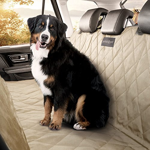 PERFECT PET Seat Cover - Dog and Cat Car Seat Cover/Hammock - Waterproof and Machine Washable - Non-Slip Quilted Technology to Protect Seats in Cars, Trucks, SUVs and Vans from Stains and Hair - Tan
