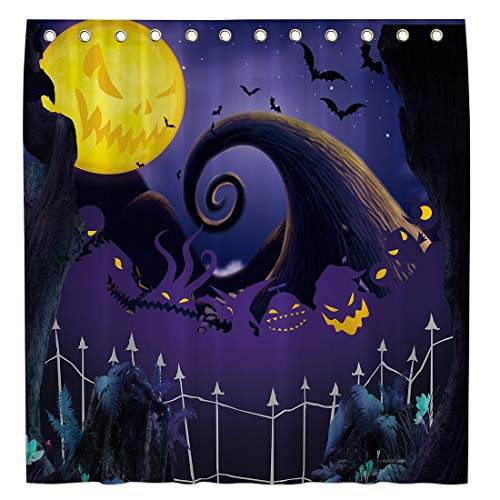 Allenjoy 72x72 Inch Halloween Before Christmas Shower Curtain for Bathroom Sets Halloween Pumpkin Home Decors Decoration Customizable Durable Waterproof Fabric Machine Washable Curtains with 12 Hooks