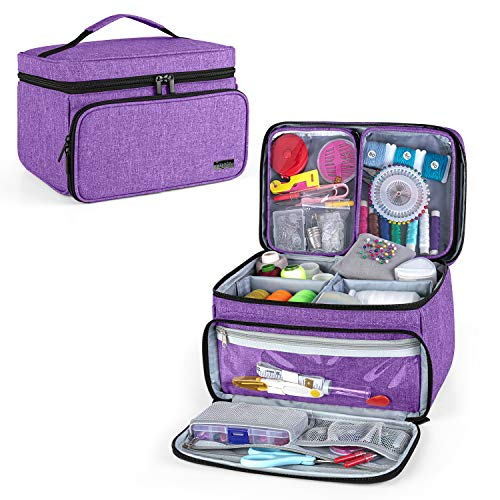 Luxja Bolsa para Kit de Costura, Bolsa para Suministros de Costura, Bolsa para hilo, agujas, tijeras y otras herramientas de costura (Solo Bolsa), Púrpura