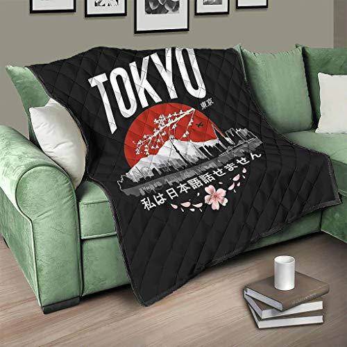 Flowerhome Japanisch Kirschblüten Steppdecke Tagesdecke Bettdecke Bettüberwurf Sofadecke Couchdecke Schlafdecke Wohndecken Kuscheldecken für Erwachsene Kinder White 200x230cm