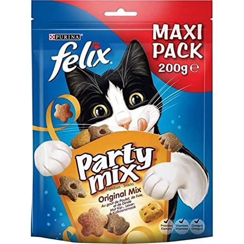 Felix Croquettes Chats Party Mix Original Poulet Foie Dinde Maxi Pack 200g (Lot de 6)