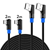 SUNGUY Micro USB Cable 90 Degree 6ft(2-Pack), Right-Angle USB Cable Charging & Data Sync for Samsung Galaxy S7 Edge/S7/S6 Edge/S6, Note 5/4, Amazon Kindle, LG, Power Bank