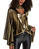 YOINS Sequin Sparkle Capes Tops for Women Sexy V Neck Chimney Collar Flared Sleeves Irregular Hem Party Club Blouses B-Gold XL