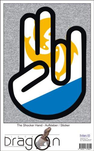 INDIGOS UG The Shocker Hand - Wandtattoo/Wandaufkleber/Aufkleber - schwarzer Umriss mit Fahne/Flagge - Anguilla-Anguilla 70 cm