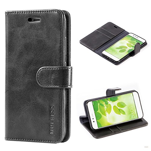 Mulbess Handyhülle für Huawei Nova 2 Hülle Leder, Huawei Nova 2 Handy Hüllen, Vintage Flip Handytasche Schutzhülle für Huawei Nova 2 Hülle, Schwarz