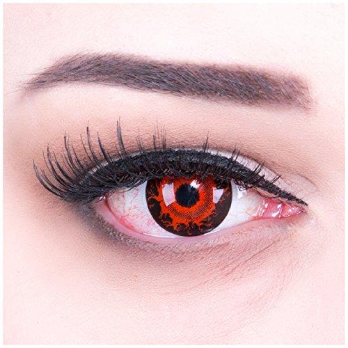 """Farbige Funnylens Mini Sclera rote \""""Cataclysm\"""" Kontaktlinsen Lenses inkl. 60 ml Pflegemittel und Behälter, weich ohne Stärke, 2er Pack - Top-Markenqualität, angenehm zu tragen und perfekt zu Halloween, Fasching und Karneval"""