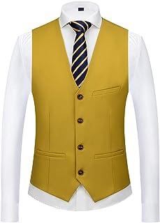 BLTR-Men Casual Slim Fit V-Neck Solid Color 3 Button Waistcoat Vests