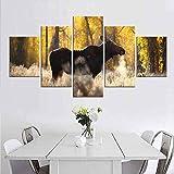 XCSMWJA 5 Pcs/Set Lienzo Elk Sunshine Imprimir Pintura Moderna Arte De Pared Animal Marrón Dorado Imagen De Paisajes Forestales para El Salón Decoración A