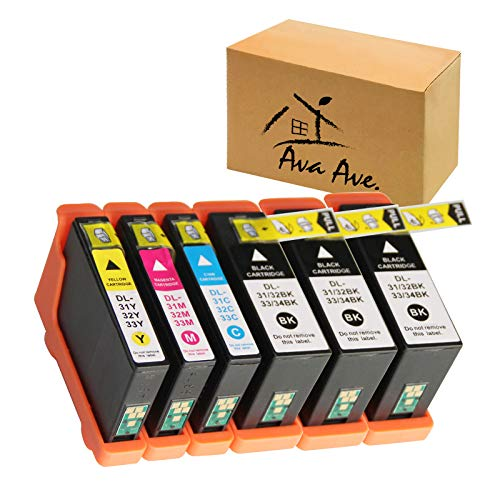 6 Pack V525W Replacement for Dell Series 31 32 33 34 Ink Cartridges Work for Dell V525W, V725W, All-in-One Wireless Inkjet Printer (3 Black, 1 Cyan, 1 Magenta, 1 Yellow)