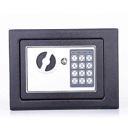 Caja fuerte con cerradura de combinación, caja de dinero electrónica de 6.4L cajero automático con bisagras a prueba de manipulaciones para joyería Key Cash