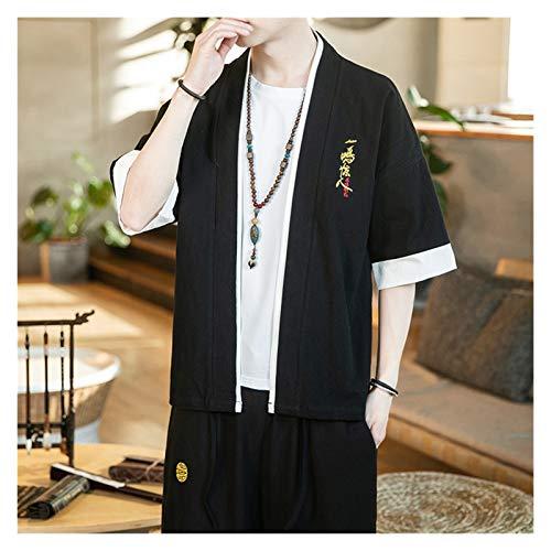 VIAIA Algodn Lino Kimono Cardigan japons de Gran tamao Hanfu Ropa de Verano Camisa de Verano Abrigo Chino Fino Chaqueta de Bordado Fino (Color : Negro, Size : 5XL)