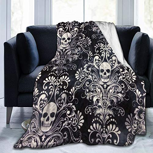 Fleece Plush Throw Blanket Comforter Gothic Skull Damask Scary Halloween Faux Fur Soft Cozy Warm Fluffy Lightweight Microfiber Fuzzy Blanket for Bed Couch Sofa Chair Fall Nap Travel Camp Picnic Cleara