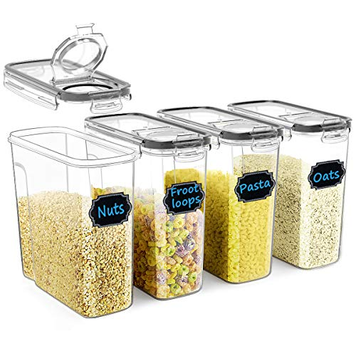 Cereal Container Set, Wildone Food Storage Containers [Set of 4] Large Airtight Storage Keeper 4L(135.2oz), Leak-proof & BPA Free, Great for Cereal, Flour, Sugar, Baking Supplies