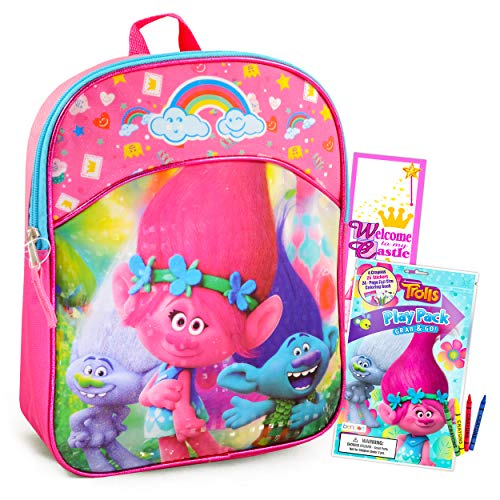 Trolls Mini Backpack for Girls ~ 11' Poppy Trolls School Bag for Toddlers Preschoolers Kindergarten with Stickers, Door Hanger and More (Trolls School Supplies Bundle)
